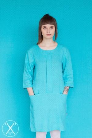 Sky Blue Linen Polka Dotted Dress