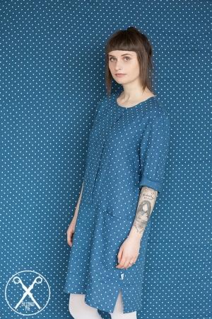 Denim Blue Linen Polka Dotted Dress
