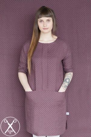 Brown Polka Dotted Linen Dress