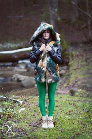 Green leggings, Faux Fur jacket