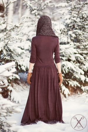 Light Brown/ Chocolate Maxi Warm Dress