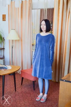 Light gray / bluish velour dress | A/W 15/16 | Second ME | www.secondme.eu