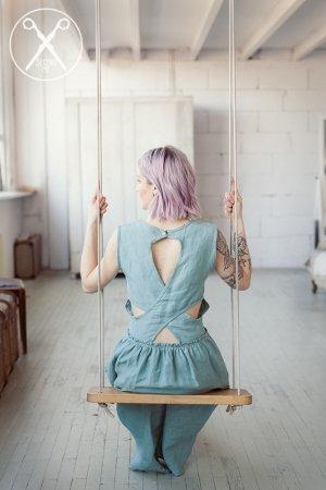 Pastel Green Crossed Back Linen Dress | 2nd ME | Second ME | www.secondme.eu