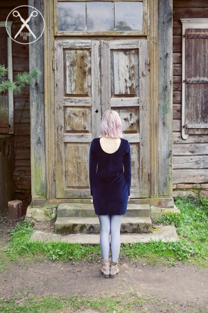 Dark Blue slim fit velour dress | SS16| Second ME | www.secondme.eu